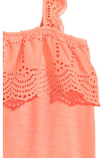 Top with broderie anglaise - Neon coral -  | H&M 3